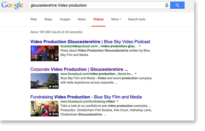 Gloucestershire Video Production Search Result