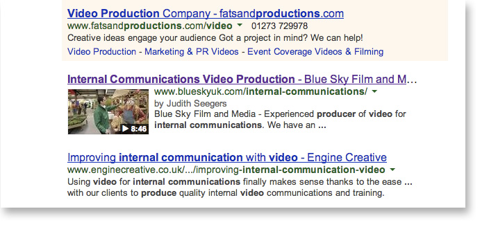 Internal Communications Video Search Result